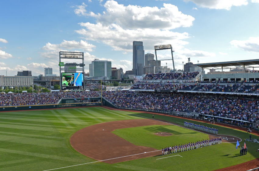 Omaha, NE - JUNE 26: A general view of the stadium during the National Anthem of game one of the College World Series Championship Series between the LSU Tigers and the Florida Gators on June 26, 2017 at TD Ameritrade Park in Omaha, Nebraska. (Photo by Peter Aiken/Getty Images)