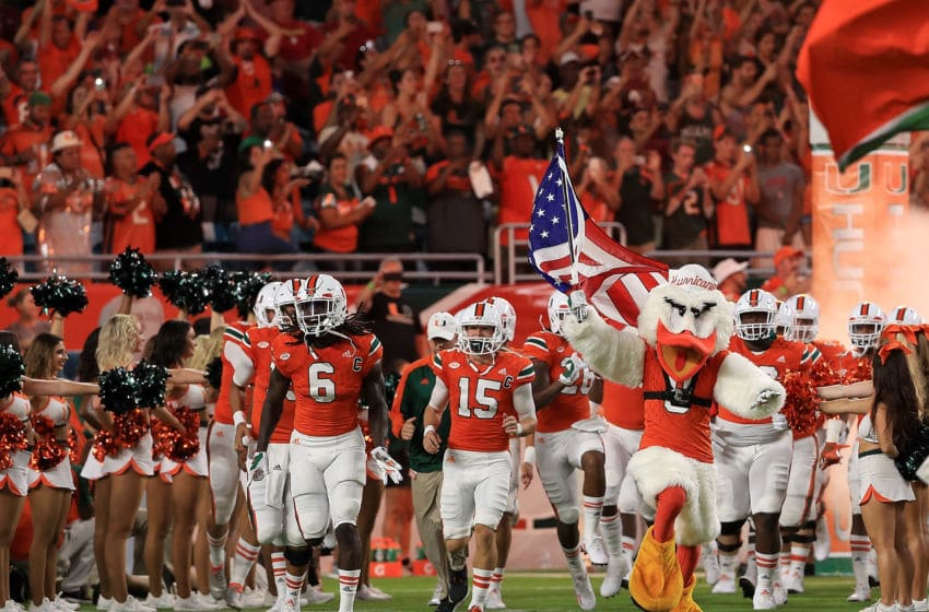 MIAMI GARDENS, FL - OCTOBER 08: The Miami Hurricanes take the field during a game against the Florida State Seminoles at Hard Rock Stadium on October 8, 2016 in Miami Gardens, Florida. (Photo by Mike Ehrmann/Getty Images)