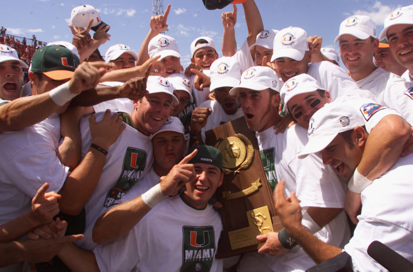 OMAHA, NE - JUNE 16: The Miami Hurricanes hold up the NCAA trophy after their win over the Stanford Cardinal during the Finals of the College World Series on June 16, 2001 at Johnny Rosenblatt Stadium at Creighton University in Omaha, Nebraska. The Hurricanes won 12-1. (Photo by Andy Lyons/Getty Images)