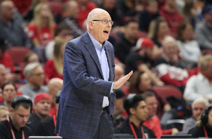 LOUISVILLE, KENTUCKY - JANUARY 07: Jim Larranaga the head coach of Miami Hurricanes gives instructions to his team during the game against the Louisville Cardinals at KFC YUM! Center on January 07, 2020 in Louisville, Kentucky. (Photo by Andy Lyons/Getty Images)