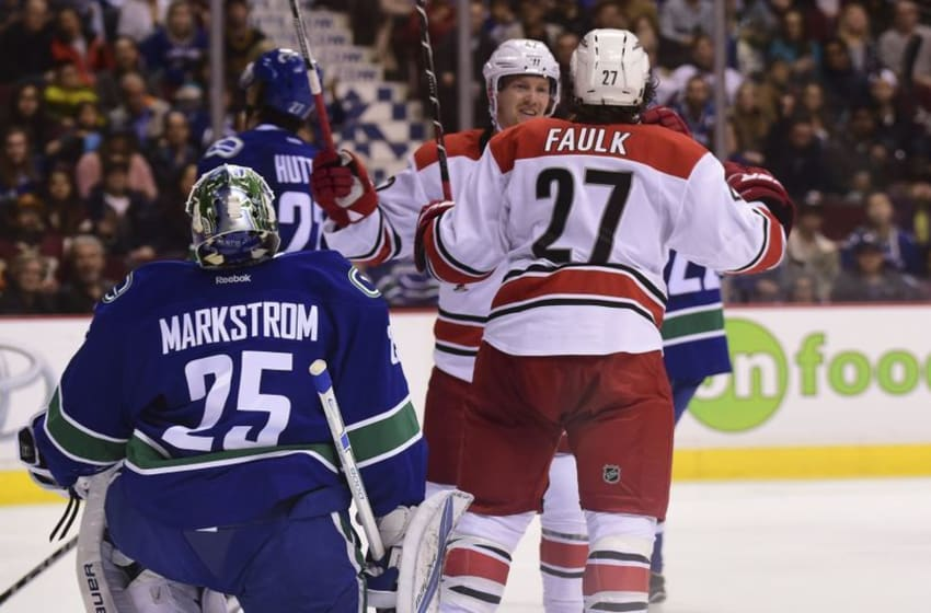 Oct 16, 2016; Vancouver, British Columbia, CAN; Carolina Hurricanes defenseman Justin Faulk (27) scores against Vancouver Canucks goaltender Jacob Markstrom (25) during the second period at Rogers Arena. Mandatory Credit: Anne-Marie Sorvin-USA TODAY Sports