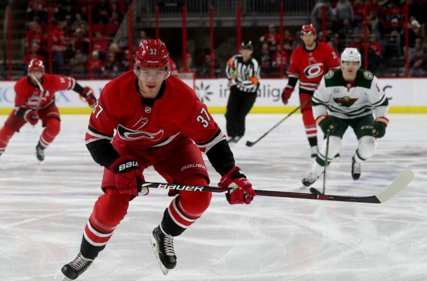 RALEIGH, NC - MARCH 23: Andrei Svechnikov #37 of the Carolina Hurricanes saktes for position on the ice during an NHL game against the Minnesota Wild on March 23, 2019 at PNC Arena in Raleigh, North Carolina. (Photo by Gregg Forwerck/NHLI via Getty Images)