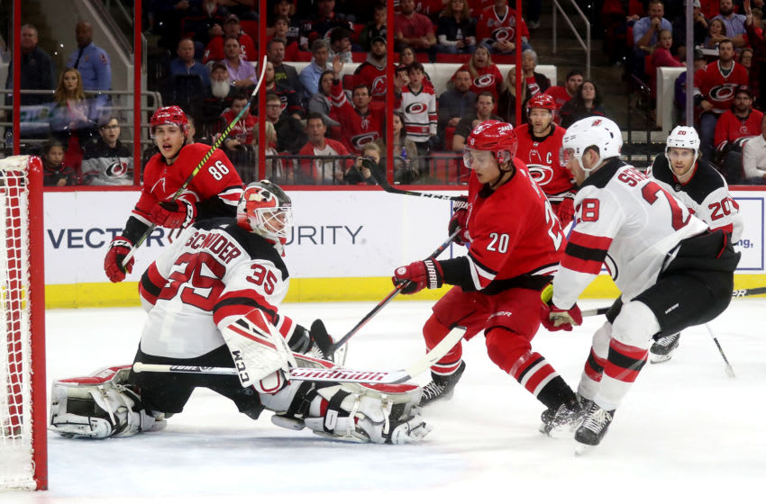 RALEIGH, NC - APRIL 4: of the Carolina Hurricanes of the New Jersey Devils during an NHL game at PNC Arena on April 4, 2019, in Raleigh, North Carolina. (Photo by Gregg Forwerck/NHLI via Getty Images)