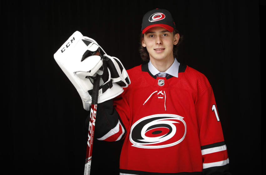 VANCOUVER, BRITISH COLUMBIA - JUNE 22: Pyotr Kochetkov poses after being selected 36th overall by the Carolina Hurricanes during the 2019 NHL Draft at Rogers Arena on June 22, 2019 in Vancouver, Canada. (Photo by Kevin Light/Getty Images)