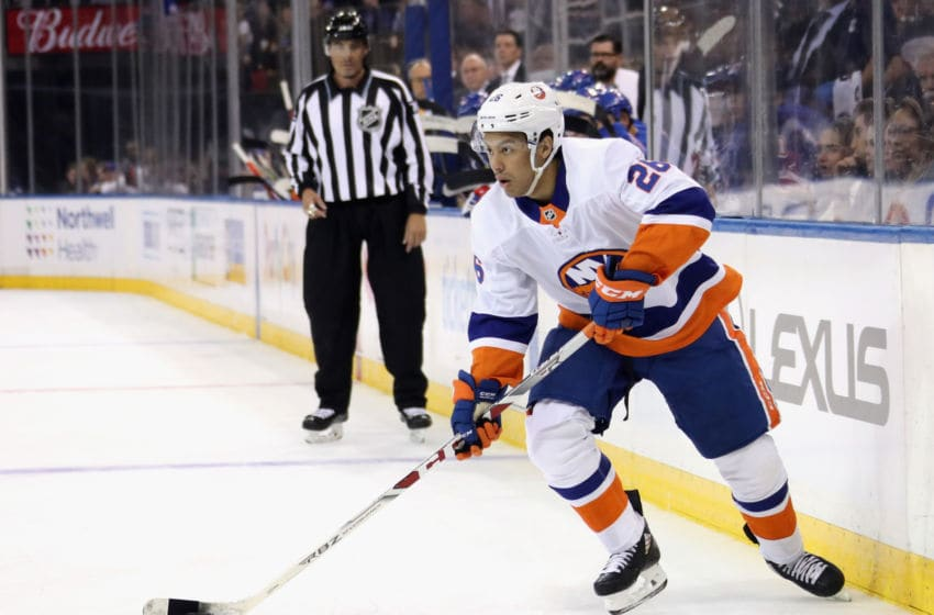 NEW YORK, NEW YORK - SEPTEMBER 24: Joshua Ho-Sang #26 of the New York Islanders skates against the New York Rangers at Madison Square Garden on September 24, 2019 in New York City. The Rangers defeated the Islanders 3-1. (Photo by Bruce Bennett/Getty Images)