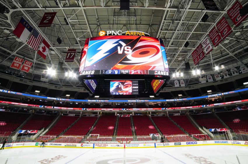 PNC Arena, Home of the Carolina Hurricanes (Photo by Greg Thompson/Icon Sportswire via Getty Images)