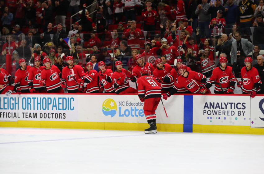 RALEIGH, NC - NOVEMBER 02: Carolina Hurricanes left wing Erik Haula (56) celebrates his goal during the 2nd period of the Carolina Hurricanes game versus the New Jersey Devils on November 2nd, 2019 at PNC Arena in Raleigh, NC. (Photo by Jaylynn Nash/Icon Sportswire via Getty Images)