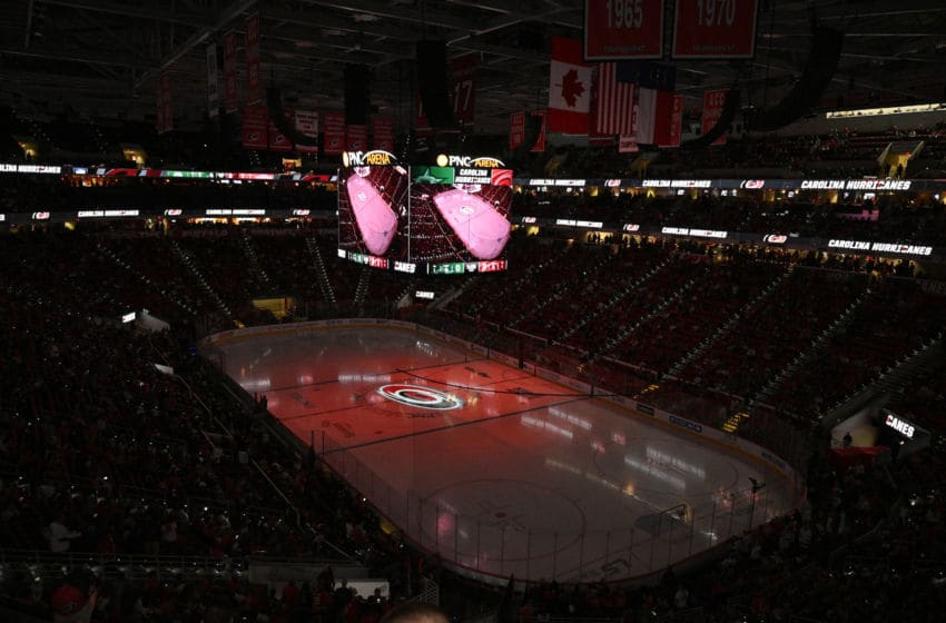 RALEIGH, NORTH CAROLINA - FEBRUARY 25: General view of the game between the Carolina Hurricanes and the Dallas Stars at PNC Arena on February 25, 2020 in Raleigh, North Carolina. (Photo by Grant Halverson/Getty Images)