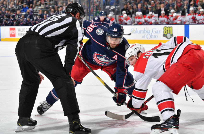 COLUMBUS, OH - MARCH 15: Boone Jenner #38 of the Columbus Blue Jackets skates against the Carolina Hurricanes on March 15, 2019 at Nationwide Arena in Columbus, Ohio. (Photo by Jamie Sabau/NHLI via Getty Images)
