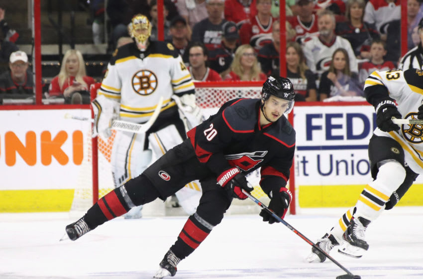RALEIGH, NORTH CAROLINA - MAY 16: Sebastian Aho #20 of the Carolina Hurricanes skates against the Boston Bruins in Game Four of the Eastern Conference Final during the 2019 NHL Stanley Cup Playoffs at the PNC Arena on May 16, 2019 in Raleigh, North Carolina. The Bruins shut out the Hurricanes 4-0 to sweep the series and move on to the Stanley Cup Finals. (Photo by Bruce Bennett/Getty Images)