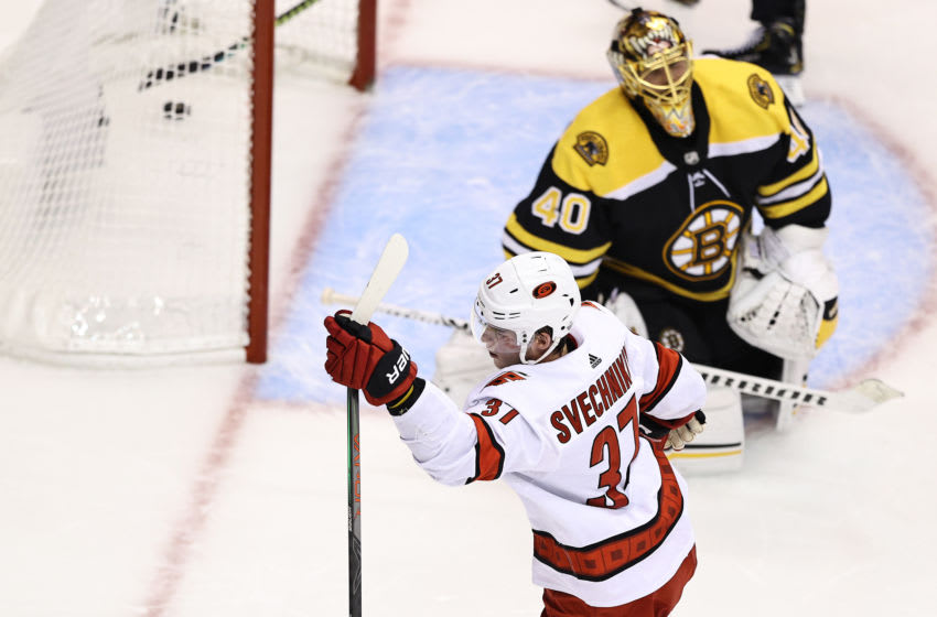 TORONTO, ONTARIO - AUGUST 13: Andrei Svechnikov #37 of the Carolina Hurricanes celebrates after scoring a goal past Tuukka Rask #40 of the Boston Bruins during the second period in Game Two of the Eastern Conference First Round during the 2020 NHL Stanley Cup Playoffs at Scotiabank Arena on August 13, 2020 in Toronto, Ontario. (Photo by Elsa/Getty Images)