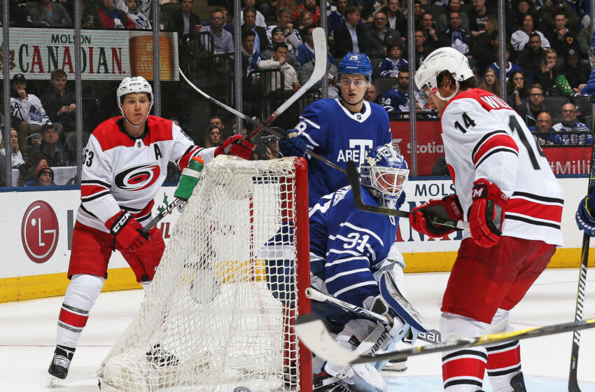 TORONTO,ON - DECEMBER 19: Frederik Andersen #31 of the Toronto Maple Leafs keeps an eye on a bouncing puck behind him during play against the Carolina Hurricanes in an NHL game at the Air Canada Centre on December 19, 2017 in Toronto, Ontario, Canada. The Maple Leafs defeated the Hurricanes 8-1. (Photo by Claus Andersen/Getty Images)