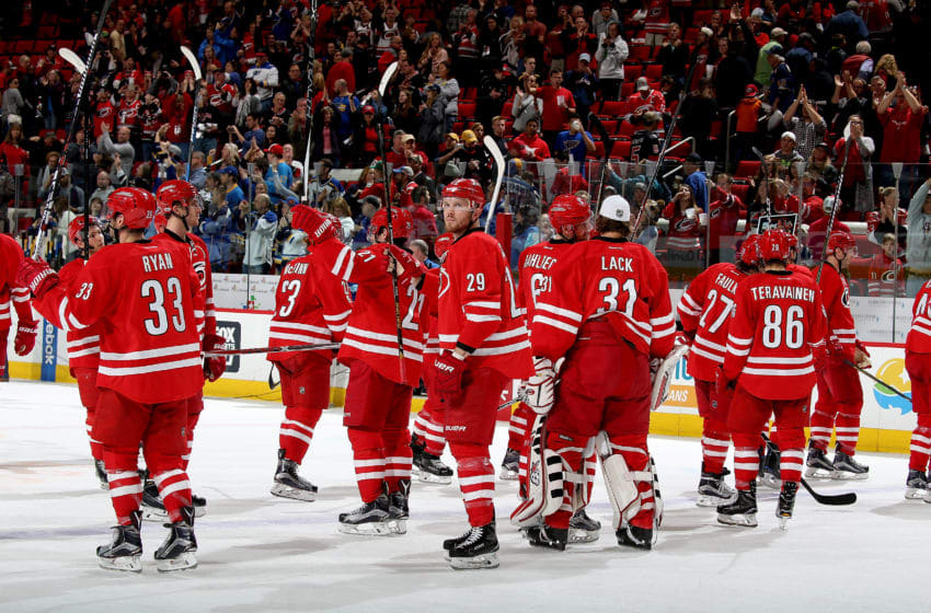 RALEIGH, NC - APRIL 8: Bryan Bickell #29 of the Carolina Hurricanes salutes fans as they close out the season against the St. Louis Blues during an NHL game on April 8, 2017 at PNC Arena in Raleigh, North Carolina. (Photo by Gregg Forwerck/NHLI via Getty Images)