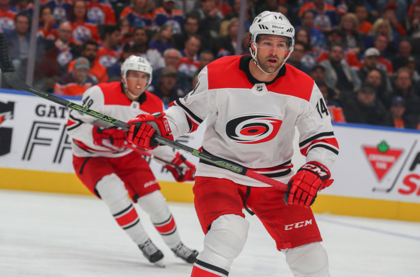 EDMONTON, AB - OCTOBER 17: Carolina Hurricanes Right Wing Justin Williams (14) watches the play during the Edmonton Oilers game versus the Carolina Hurricanes at at Rogers Place on October 09, 2017 in Edmonton, AB. (Photo by Curtis Comeau/Icon Sportswire via Getty Images)