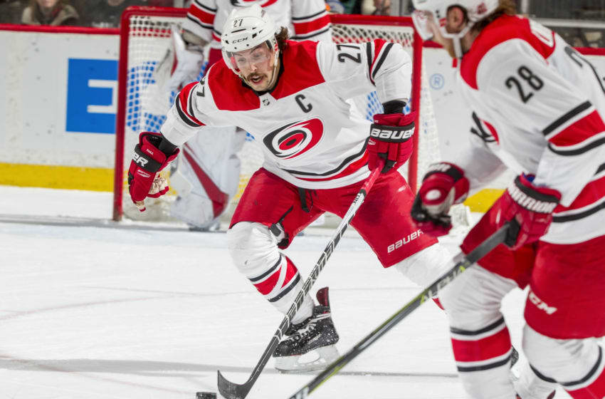 ST. PAUL, MN - MARCH 6: Justin Faulk #27 of the Carolina Hurricanes skates with the puck against the Minnesota Wild during the game at the Xcel Energy Center on March 6, 2018 in St. Paul, Minnesota. (Photo by Bruce Kluckhohn/NHLI via Getty Images)