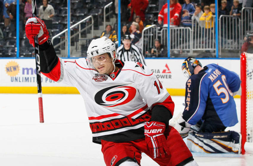 ATLANTA, GA - DECEMBER 16: Sergei Samsonov #14 of the Carolina Hurricanes reacts after scoring a shootout goal past goaltender Chris Mason #50 of the Atlanta Thrashers to give the Hurricanes a 3-2 win in a shootout at Philips Arena on December 16, 2010 in Atlanta, Georgia. (Photo by Kevin C. Cox/Getty Images)