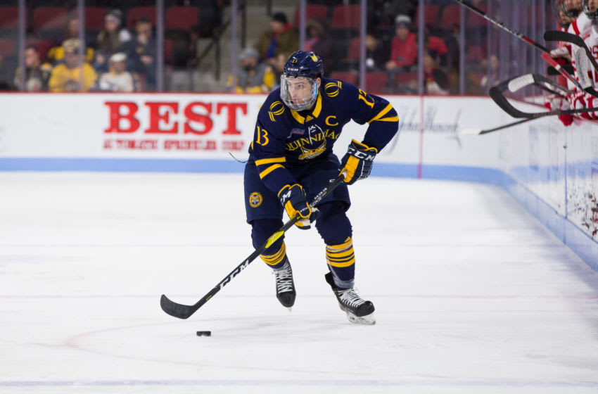 BOSTON, MA - JANUARY 19: Chase Priskie #13 of the Quinnipiac University Bobcats skates against the Boston University Terriers during NCAA men's hockey at Agganis Arena on January 19, 2019 in Boston, Massachusetts. The Bobcats won 4-3 on a goal with 2.5 seconds remaining in regulation. (Photo by Richard T Gagnon/Getty Images)