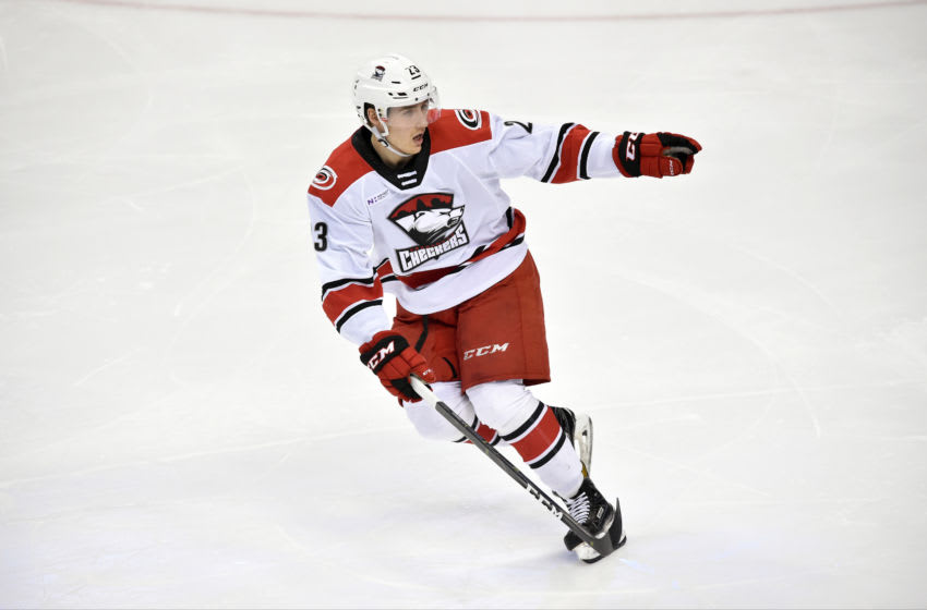 HERSHEY, PA - FEBRUARY 09: Charlotte Checkers center Janne Kuokkanen (23) directs a teammate during the Charlotte Checkers vs. Hershey Bears AHL game February 9, 2019 at the Giant Center in Hershey, PA. (Photo by Randy Litzinger/Icon Sportswire via Getty Images)