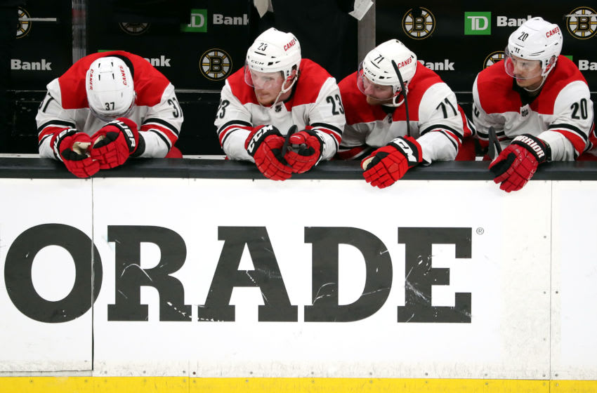 BOSTON, MASSACHUSETTS - MAY 12: The Carolina Hurricanes bench reacts during the third period in Game Two of the Eastern Conference Final against the Boston Bruins during the 2019 NHL Stanley Cup Playoffs at TD Garden on May 12, 2019 in Boston, Massachusetts. (Photo by Adam Glanzman/Getty Images)
