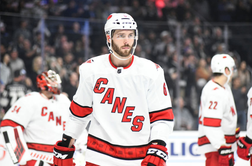 LOS ANGELES, CA - OCTOBER 15: Carolina Hurricanes defenseman Joel Edmundson (6) during their game against the Los Angeles Kings on October 15, 2019, at Staples Center in Los Angeles, CA. (Photo by Rob Curtis/Icon Sportswire via Getty Images)