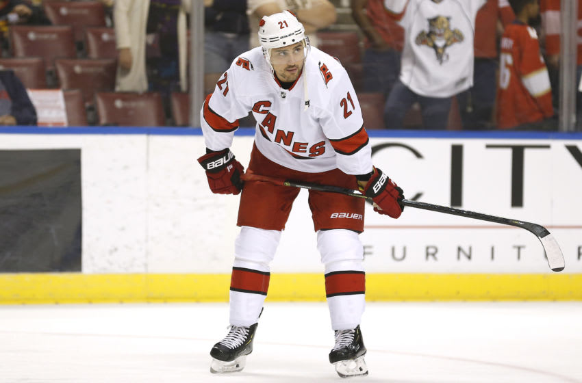 Nino Niederreiter #21, Carolina Hurricanes (Photo by Michael Reaves/Getty Images)