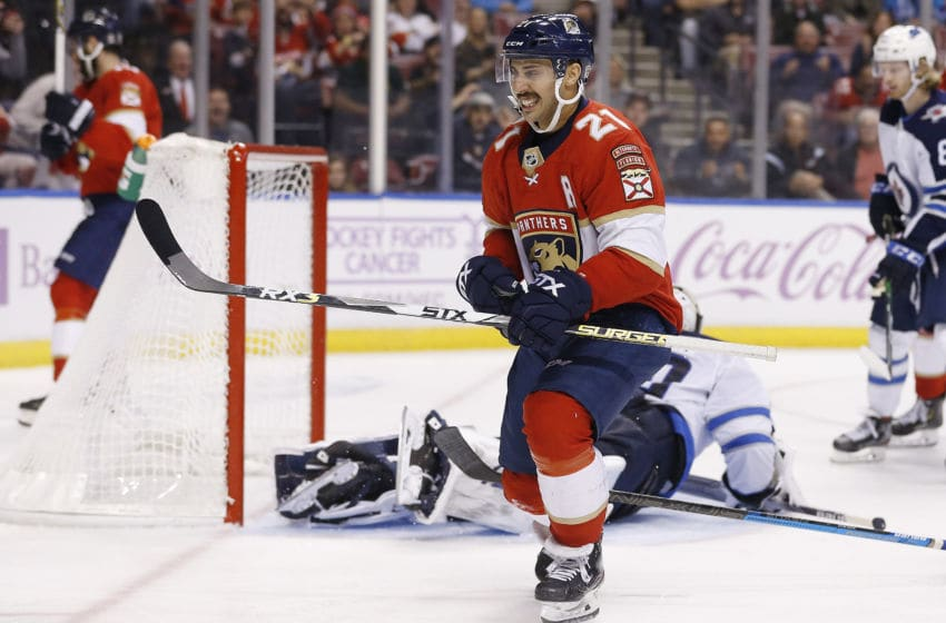 SUNRISE, FLORIDA - NOVEMBER 14: Vincent Trocheck #21 of the Florida Panthers celebrates after scoring a goal against the Winnipeg Jets during the third period at BB&T Center on November 14, 2019 in Sunrise, Florida. (Photo by Michael Reaves/Getty Images)