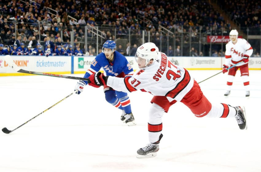 NEW YORK, NY - NOVEMBER 27: Andrei Svechnikov #37 of the Carolina Hurricanes shoots the puck against the New York Rangers at Madison Square Garden on November 27, 2019 in New York City. (Photo by Jared Silber/NHLI via Getty Images)