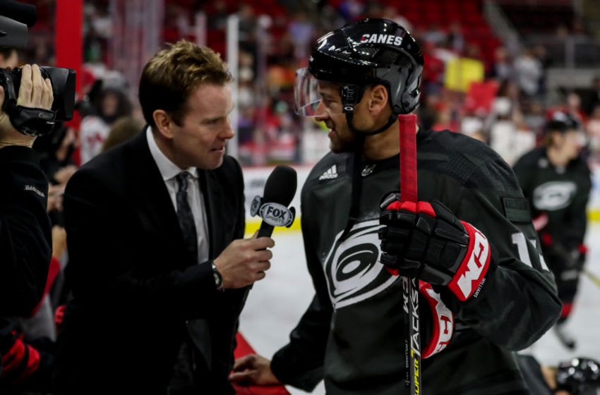 RALEIGH, NC - JANUARY 19: Carolina Hurricanes Right Wing Justin Williams (14) talks with Fox Sports before an NHL game between the Carolina Hurricanes and New York Islanders on January 19, 2020 at the PNC Arena in Raleigh, NC. (Photo by John McCreary/Icon Sportswire via Getty Images)
