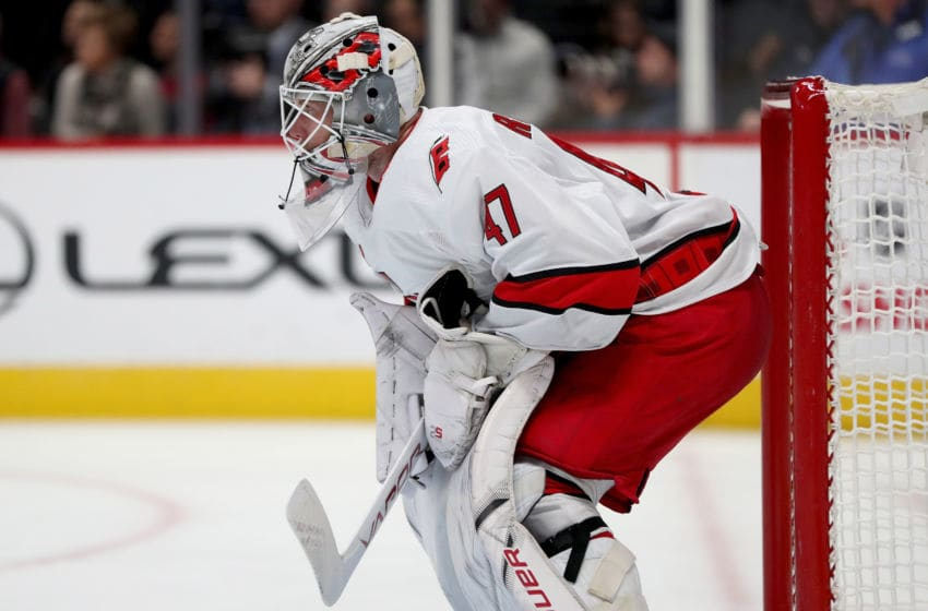 James Reimer #47 of the Carolina Hurricanes (Photo by Matthew Stockman/Getty Images)
