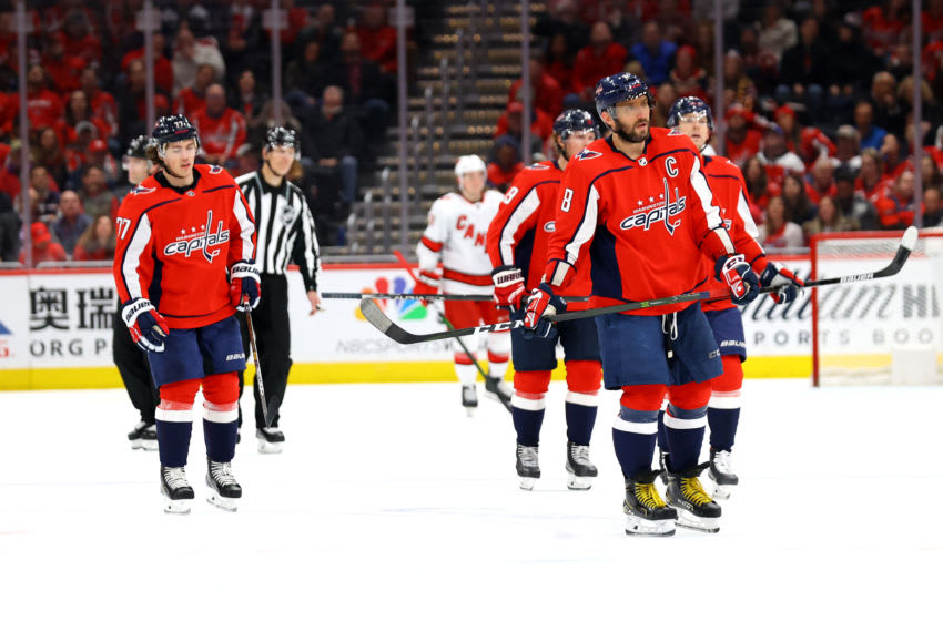 WASHINGTON, DC - JANUARY 13: Alex Ovechkin #8 of the Washington Capitals skates on the ice against the Carolina Hurricanes in the third period at Capital One Arena on January 13, 2020 in Washington, DC. (Photo by Rob Carr/Getty Images)