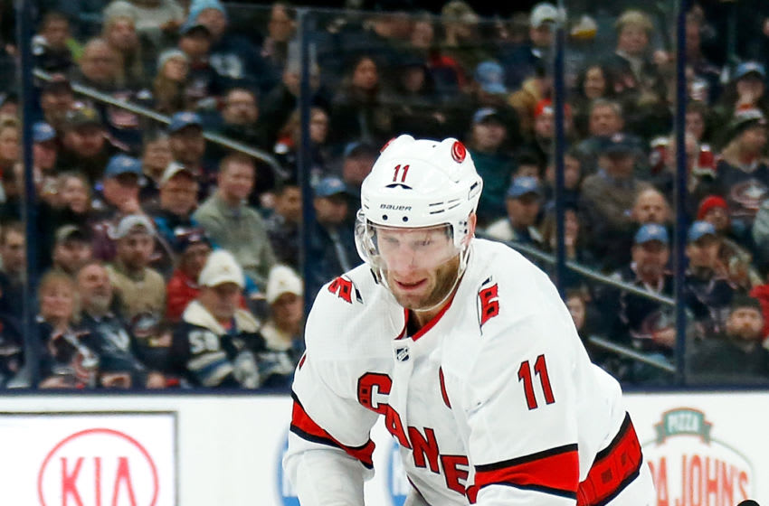COLUMBUS, OH - JANUARY 16: Jordan Staal #11 of the Carolina Hurricanes controls the puck during the game against the Columbus Blue Jackets on January 16, 2020 at Nationwide Arena in Columbus, Ohio. (Photo by Kirk Irwin/Getty Images)