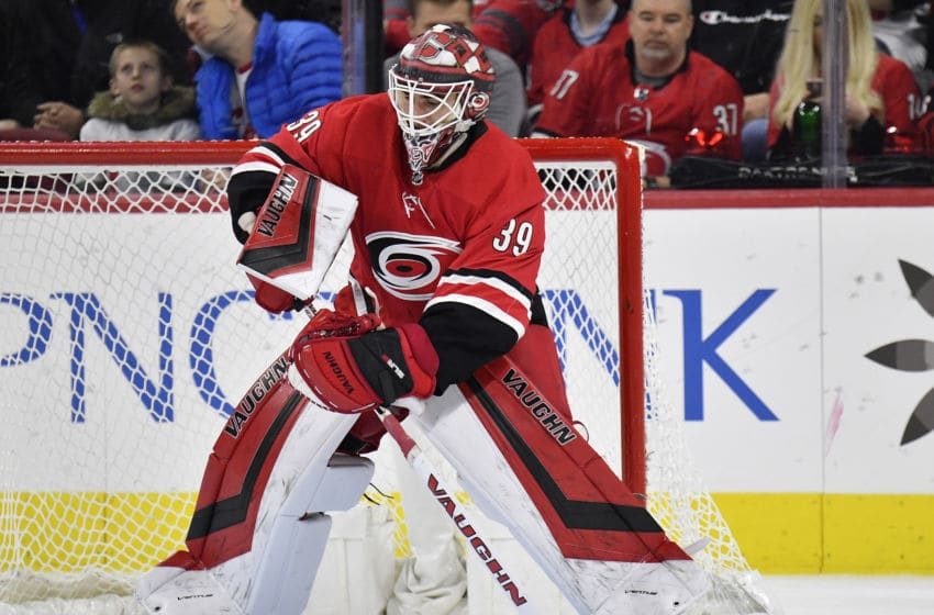 RALEIGH, NORTH CAROLINA - FEBRUARY 25: Alex Nedeljkovic #39 of the Carolina Hurricanes makes a save against the Dallas Stars during the second period of a game at PNC Arena on February 25, 2020 in Raleigh, North Carolina. (Photo by Grant Halverson/Getty Images)