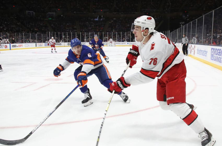 UNIONDALE, NEW YORK - MARCH 07: Brady Skjei #76 of the Carolina Hurricanes skates against the New York Islanders at NYCB Live's Nassau Coliseum on March 07, 2020 in Uniondale, New York. (Photo by Bruce Bennett/Getty Images)