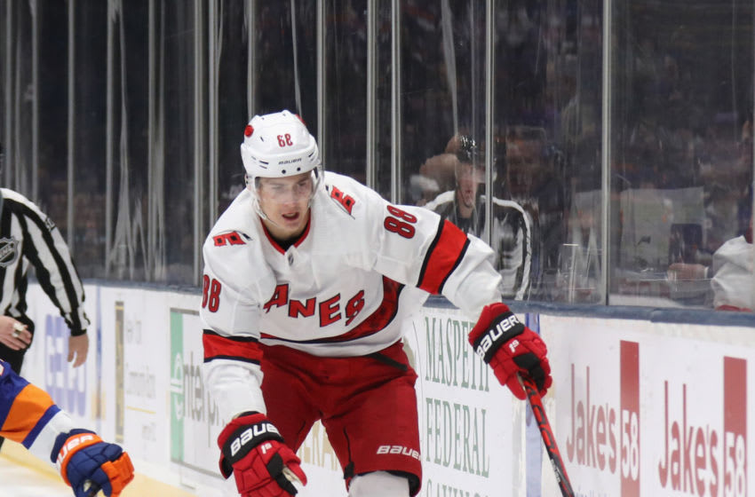 UNIONDALE, NEW YORK - MARCH 07: Martin Necas #88 of the Carolina Hurricanes skates against the New York Islanders at NYCB Live's Nassau Coliseum on March 07, 2020 in Uniondale, New York. (Photo by Bruce Bennett/Getty Images)