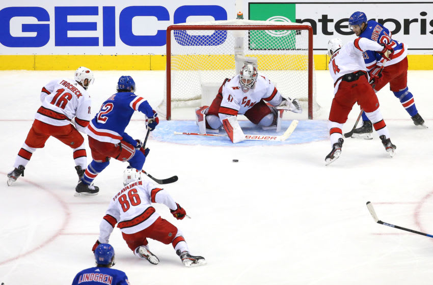 TORONTO, ONTARIO - AUGUST 04: James Reimer #47 of the Carolina Hurricanes makes a save against the New York Rangers during the second period in Game Three of the Eastern Conference Qualification Round prior to the 2020 NHL Stanley Cup Playoffs at Scotiabank Arena on August 04, 2020 in Toronto, Ontario, Canada. (Photo by Andre Ringuette/Freestyle Photo/Getty Images)