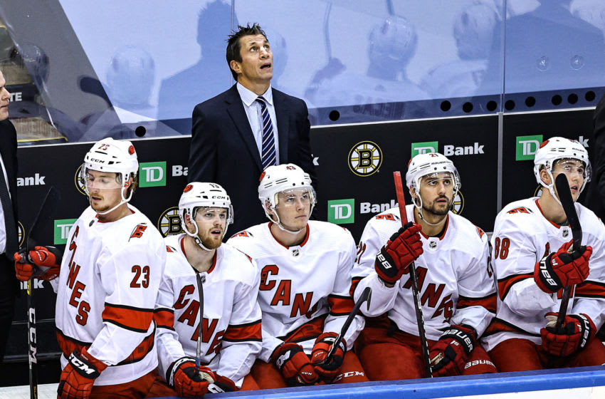 TORONTO, ONTARIO - AUGUST 19: Head coach Rod Brind'Amour of the Carolina Hurricanes reacts against the Boston Bruins during the second period in Game Five of the Eastern Conference First Round during the 2020 NHL Stanley Cup Playoffs at Scotiabank Arena on August 19, 2020 in Toronto, Ontario. (Photo by Elsa/Getty Images)