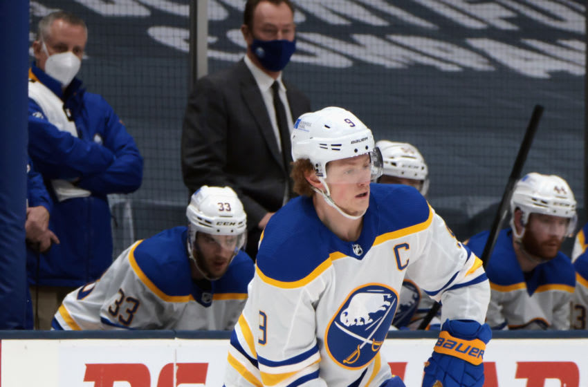 UNIONDALE, NEW YORK - MARCH 06: Jack Eichel #9 of the Buffalo Sabres skates against the New York Islanders at the Nassau Coliseum on March 06, 2021 in Uniondale, New York. (Photo by Bruce Bennett/Getty Images)