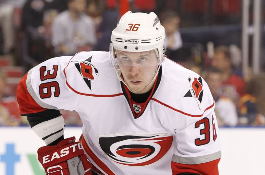 SUNRISE, FL - JANUARY 19: Jussi Jokinen #36 of the Carolina Hurricanes prepares for a faceoff against the Florida Panthers during the season opener at the BB&T Center on January 19, 2013 in Sunrise, Florida. The Panthers defeated the Hurricanes 5-1. (Photo by Joel Auerbach/Getty Images)