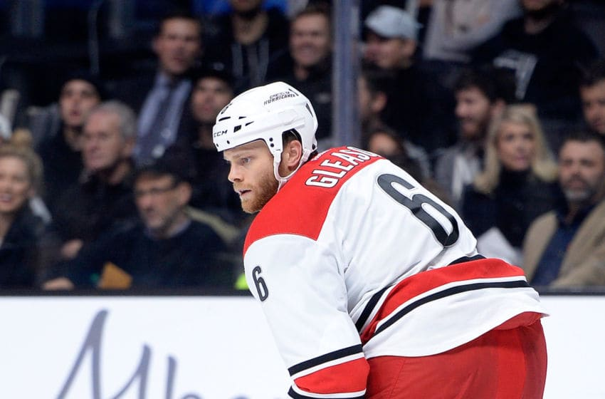 LOS ANGELES, CA - NOVEMBER 20: Tim Gleason #6 of the Carolina Hurricanes follows play against the Los Angeles Kings at Staples Center on November 20, 2014 in Los Angeles, California. (Photo by Harry How/Getty Images)