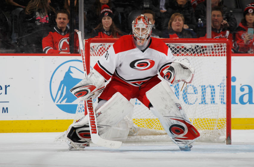 NEWARK, NJ - MARCH 01: Eddie Lack #31 of the Carolina Hurricanes plays against the New Jersey Devils at the Prudential Center on March 1, 2016 in Newark, New Jersey. The Hurricanes defeated the Devils 3-1. (Photo by Bruce Bennett/Getty Images)