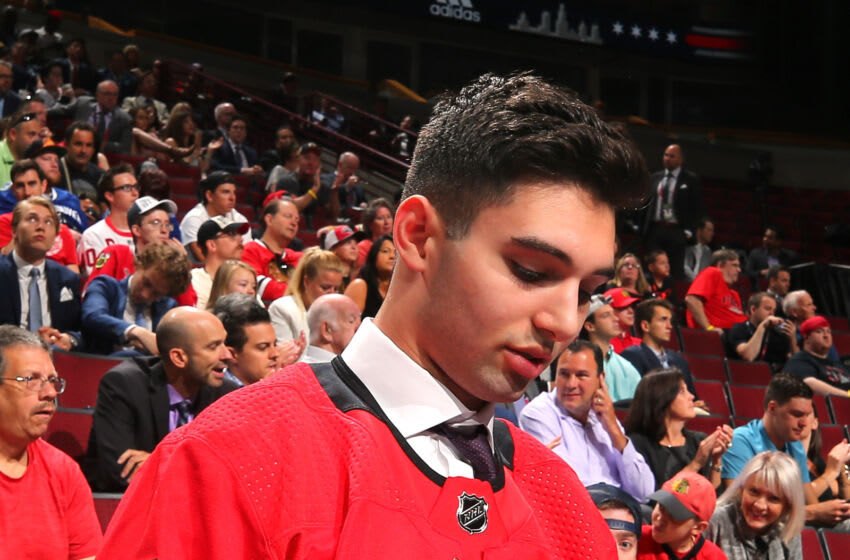 CHICAGO, IL - JUNE 24: Stelio Mattheos celebrates after being selected 73rd overall by the Carolina Hurricanes during the 2017 NHL Draft at the United Center on June 24, 2017 in Chicago, Illinois. (Photo by Bruce Bennett/Getty Images)