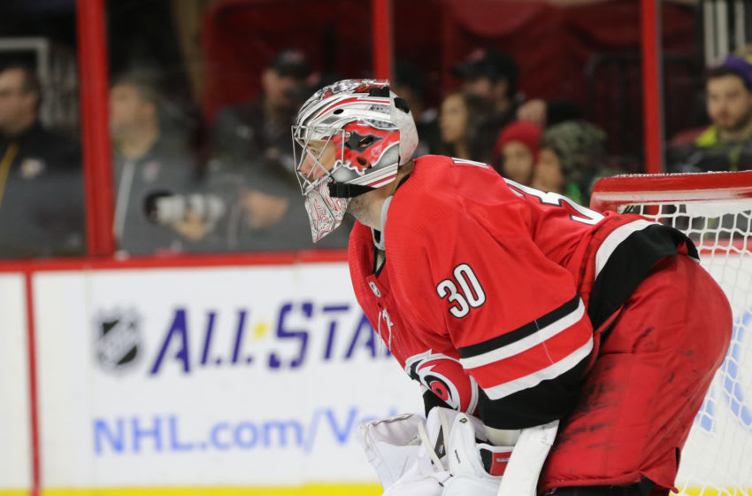 RALEIGH, NC - DECEMBER 29: Carolina Hurricanes Goalie Cam Ward (30) during the 2nd period of the Carolina Hurricanes game versus the Pittsburgh Penguins on December 29, 2017, at PNC Arena in Raleigh, NC. (Photo by Jaylynn Nash/Icon Sportswire via Getty Images)
