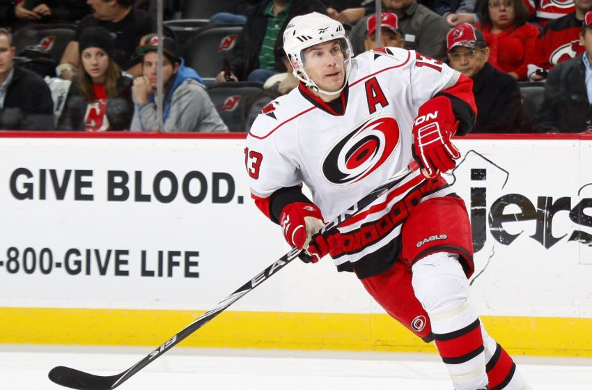 NEWARK, NJ - DECEMBER 09: Ray Whitney #13 of the Carolina Hurricanes against the New Jersey Devils on December 9, 2009 in Newark, New Jersey. (Photo by Paul Bereswill/Getty Images)