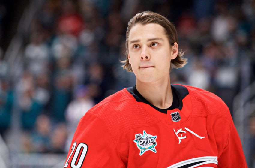 SAN JOSE, CA - JANUARY 25: Carolina Hurricanes center Sebastian Aho (20) skates before the NHL All-Star Skills Competition on January 25, 2019, at SAP Center in San Jose, CA (Photo by Matt Cohen/Icon Sportswire via Getty Images)