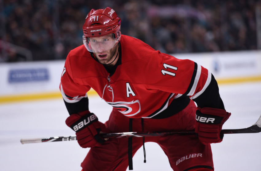 SAN JOSE, CA - DECEMBER 05: Carolina Hurricanes Center Jordan Staal (11) during the National Hockey League game between the Carolina Hurricanes and the San Jose Sharks on December 5, 2018 at the SAP Center in San Jose, CA. (Photo by Cody Glenn/Icon Sportswire via Getty Images)