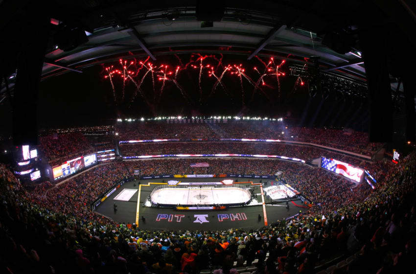 PHILADELPHIA, PA - FEBRUARY 23: Fireworks are seen prior to the 2019 Coors Light NHL Stadium Series game between the Pittsburgh Penguins and the Philadelphia Flyers at Lincoln Financial Field on February 23, 2019 in Philadelphia, Pennsylvania. (Photo by Mike Stobe/NHLI via Getty Images)
