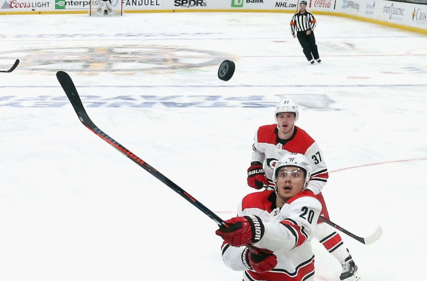 BOSTON, MASSACHUSETTS - MAY 12: Sebastian Aho #20 of the Carolina Hurricanes skates against the Boston Bruins in Game Two of the Eastern Conference Final during the 2019 NHL Stanley Cup Playoffs at TD Garden on May 12, 2019 in Boston, Massachusetts. (Photo by Bruce Bennett/Getty Images)