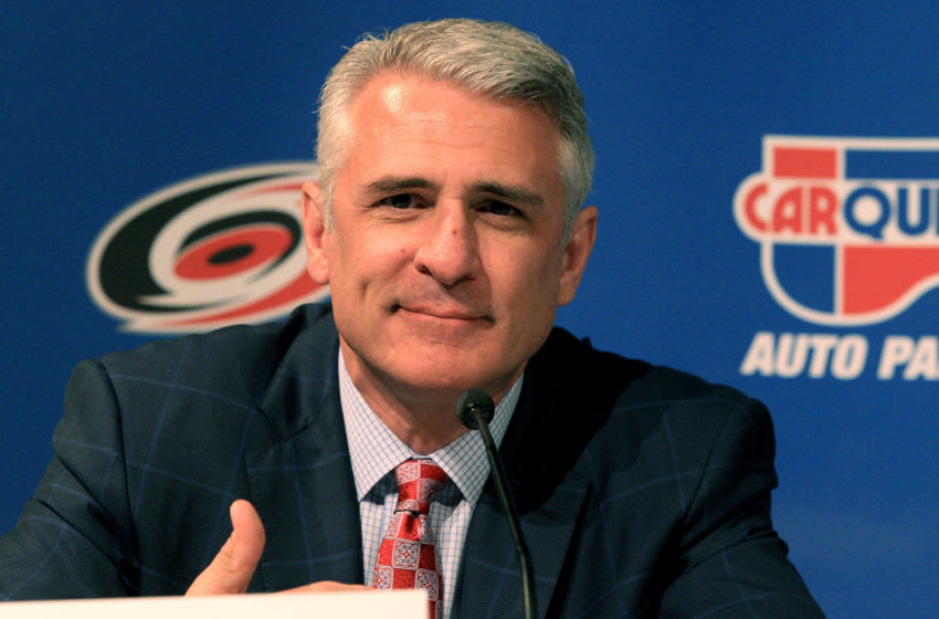 RALEIGH, NC - APRIL 28: Ron Francis speaks as he is named the new general manager of the Carolina Hurricanes during a press conference at PNC Arena on April 28, 2014 in Raleigh, North Carolina. (Photo by Gregg Forwerck/Getty Images)
