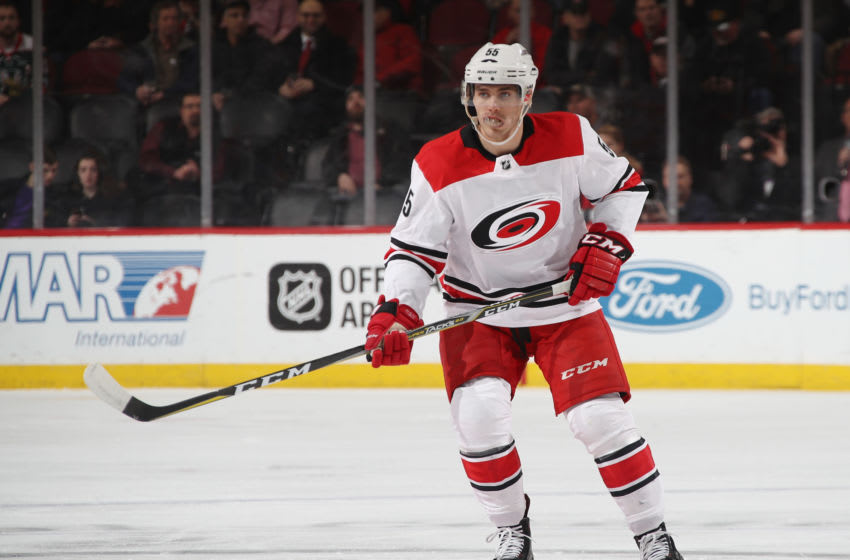 NEWARK, NJ - MARCH 27: Roland McKeown #55 of the Carolina Hurricanes skates against the New Jersey Devils at the Prudential Center on March 27, 2018 in Newark, New Jersey. (Photo by Bruce Bennett/Getty Images)