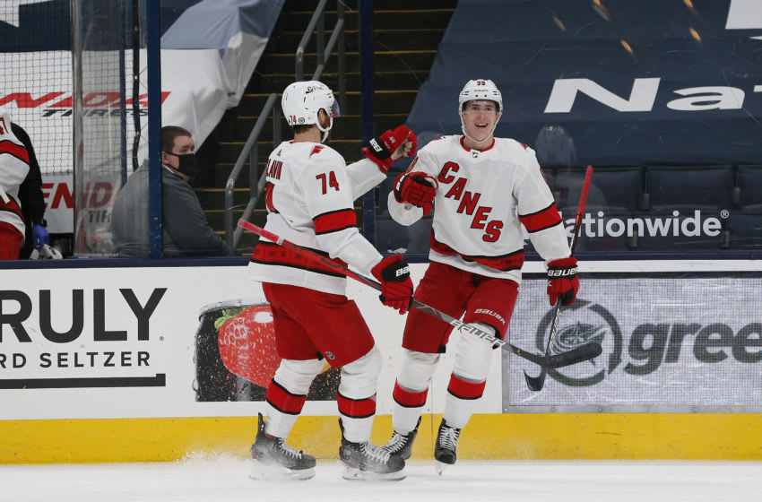 Mar 25, 2021; Columbus, Ohio, USA; Carolina Hurricanes center Martin Necas (88) celebrates a goal against the Columbus Blue Jackets during the second period at Nationwide Arena. Mandatory Credit: Russell LaBounty-USA TODAY Sports